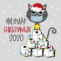 Meowy Christmask 2020 - Cat in face mask and Toilet paper Christmas tree.