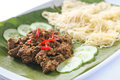 Nyonya roti jala with beef rendang garnished sliced chili Royalty Free Stock Images