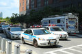 Nypd on high alert after terror threat in new york city august august numerous cars providing security world Royalty Free Stock Photography