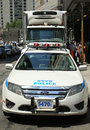 Nypd on high alert after terror threat in new york city august august numerous cars providing security world Royalty Free Stock Photo