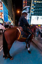 NYPD Mounted Policeman, Midtown Manhattan, New York City Royalty Free Stock Photo