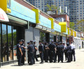 NYPD officers ready to patrol streets on Memorial Day in Brooklyn, NY Royalty Free Stock Photo