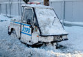 Nypd vehicle under snow in brooklyn ny after massive snowstorm nemo strikes northeast new york february on february Royalty Free Stock Photos
