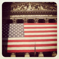 Nyse the large american flag at the new york stock exchange Stock Photos