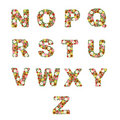 O alfabeto floral [N - Z] ajustou-se Foto de Stock Royalty Free