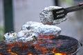 O burning e o crimperbrazier Imagens de Stock