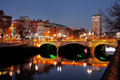O`Connell Bridge and the north banks of the river Liffey in Dublin City Centre at night