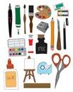 O grupo de art supplies illustrations hand drawn rabisca a escova de pintura pen ink Fotos de Stock