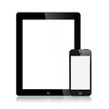 O Ipad novo (Ipad 3) e preto do iPhone 5 isolado Imagem de Stock Royalty Free