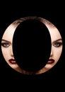 O letter beauty makeup girl creative fashion font
