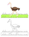 O for ostrich drawing coloring page kids with fill color sample isolated on white background Stock Photos