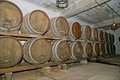 Oak barrels in which the wine matures at a winery Royalty Free Stock Image