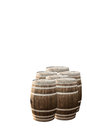 Oak barrels on white background Stock Images