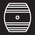 Oak Cask line icon, white outline sign, vector illustration