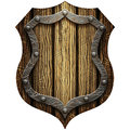 Oak Gothic knight`s shield with rivets