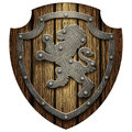 The oak knight's shield with rivets and metal Lev
