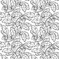Oak leaf acorn black white seamless background vector pattern Stock Images