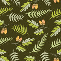 Oak leaves and ferns seamless background fern Royalty Free Stock Photos