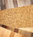 Oak parquet and cork flooring texture Stock Photography