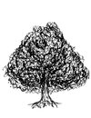 Oak tree black and white with leaves drawn with illustrators brushes Royalty Free Stock Photos