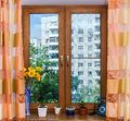 Oak veneer on the new window city flat moscow Stock Images