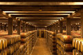 Oak wine barrels la rioja lines of in a logrono bodega northern spain Stock Photos