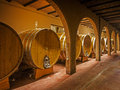 Oak wine barrels in a winery cellar Royalty Free Stock Photography