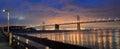 Oakland Bay Bridge lights in dusk in San Francisco, California Royalty Free Stock Photo