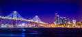 Oakland bay bridge views near san francisco california in the ev Royalty Free Stock Photo
