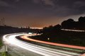 Oakland freeway at night in the fog Royalty Free Stock Photo
