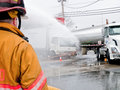 Oakland tanker truck accident april at approx pm a box slipped its parking brake and rolled into a gasoline delivering fuel to the Royalty Free Stock Image