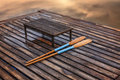 Oar on the pier lake Royalty Free Stock Photography