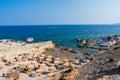 Oasis beach near faliraki rhodes greece – august nd people enjoying sunny weather on a busy Stock Photography