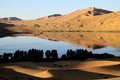 Oasis in desert inner mongolia china Royalty Free Stock Photo