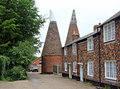 Oast houses and cottages Royalty Free Stock Photo