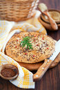 Oat bran and flax seed flatbread Royalty Free Stock Images