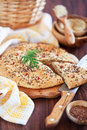 Oat bran and flax seed flatbread Stock Photography