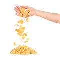 Oat flakes fall out of women's hands Royalty Free Stock Photo