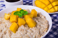 Oat porridge with fresh mango in the white bowl with coffee Royalty Free Stock Photo
