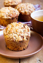 Oat streusel muffins and cup of tea Stock Photography