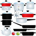 Oated Pot and Pan, Cooking Utensils Stock Image