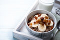 Oatmeal with bananas and raisins healthy breakfast a glass of milk Royalty Free Stock Image