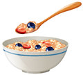 Oatmeal with berries in the bowl Royalty Free Stock Photo