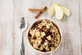 Oatmeal Breakfast Cereal With Fruit and Cinnamon Royalty Free Stock Photo