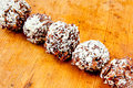 Oatmeal chocolate cookies with desiccated coconut Royalty Free Stock Photo