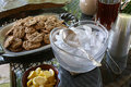 Oatmeal cookies and iced tea refreshments including ice Stock Photography
