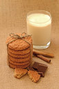 Oatmeal cookies and milk shake chocolate pieces Royalty Free Stock Photos