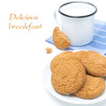 Oatmeal cookies on the plate and mug of milk isolated white Stock Photos