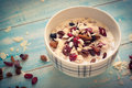 Oatmeal with dried fruit. Royalty Free Stock Photo