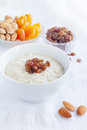 Oatmeal with dried fruit and nuts Royalty Free Stock Image